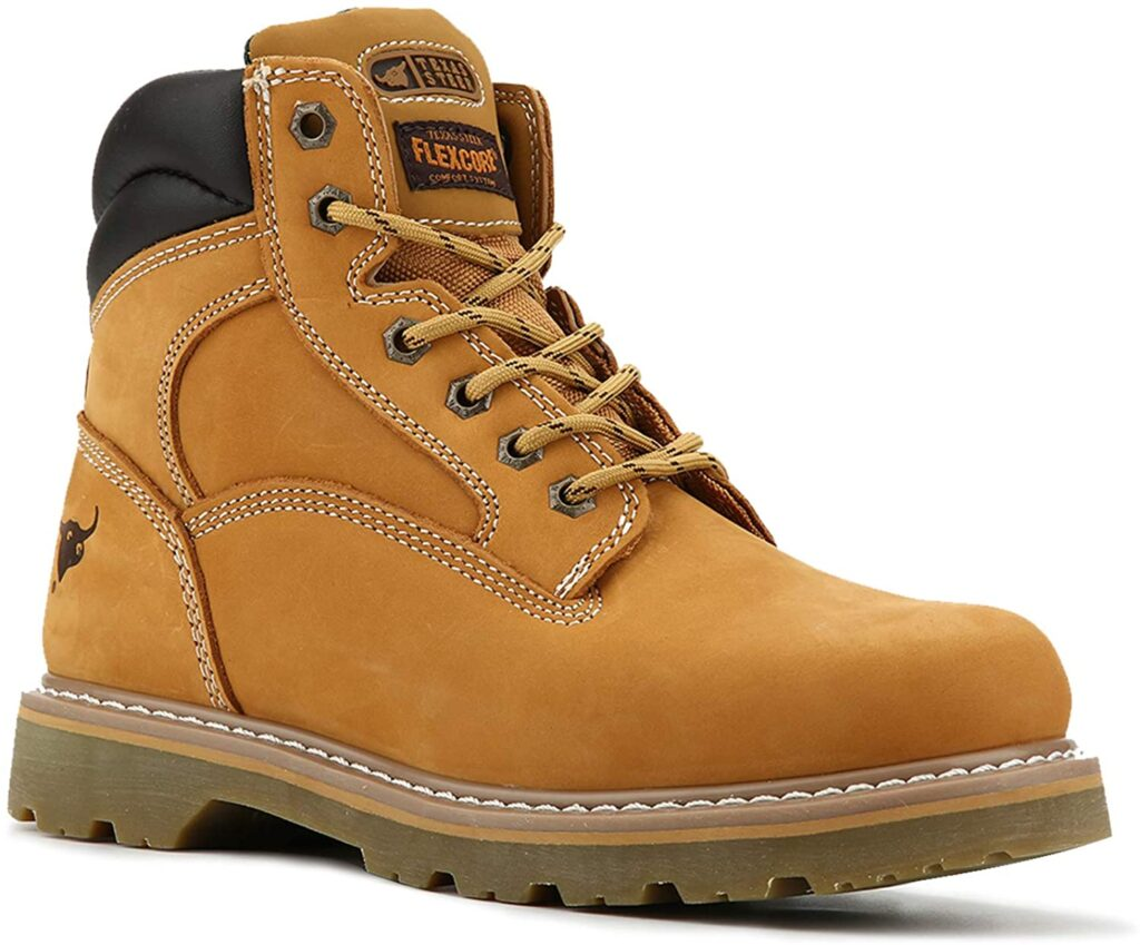 TEXAS STEER Men's Soft Toe Nubuck Leather Boots For Work