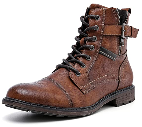Amapo Men's Oxfords Brown Casual Motorcycle Boots